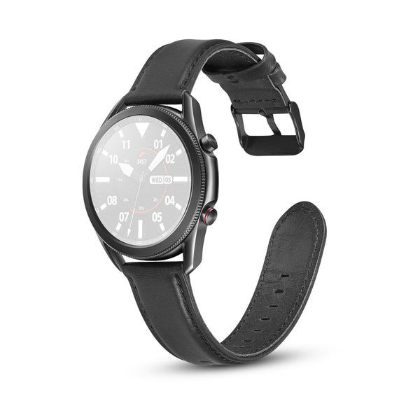 AMZER Flat Texture Leather Replacement Strap for Samsung Galaxy Watch 3 41mm