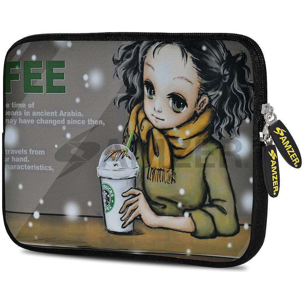 AMZER 7.75 Inch Neoprene Zipper Sleeve Pouch Tablet Bag - Coffee Break