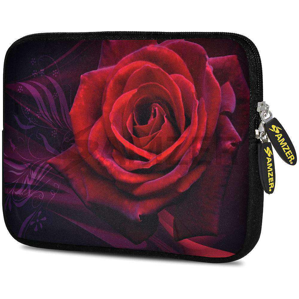 AMZER 7.75 Inch Neoprene Zipper Sleeve Pouch Tablet Bag - Rose - amzer