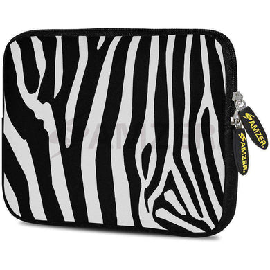 AMZER 7.75 Inch Neoprene Zipper Sleeve Pouch Tablet Bag - Zebra Stipes