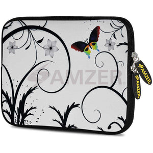 AMZER 7.75 Inch Neoprene Zipper Sleeve Pouch Tablet Bag - Snow Butterfly