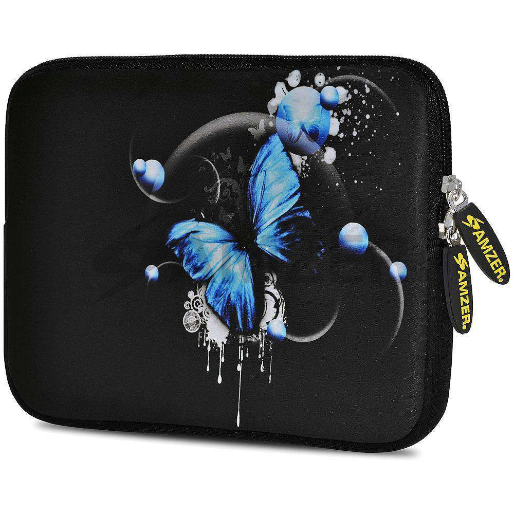 AMZER 7.75 Inch Neoprene Zipper Sleeve Pouch Tablet Bag - Blue Butterfly