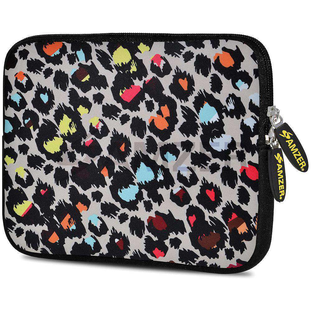 AMZER 7.75 Inch Neoprene Zipper Sleeve Pouch Tablet Bag - Neon Safari - amzer