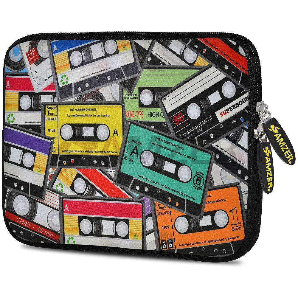 AMZER 7.75 Inch Neoprene Zipper Sleeve Pouch Tablet Bag - Audio Cassette Scatter - amzer
