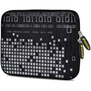AMZER 7.75 Inch Neoprene Zipper Sleeve Pouch Tablet Bag - Data Pixels - amzer