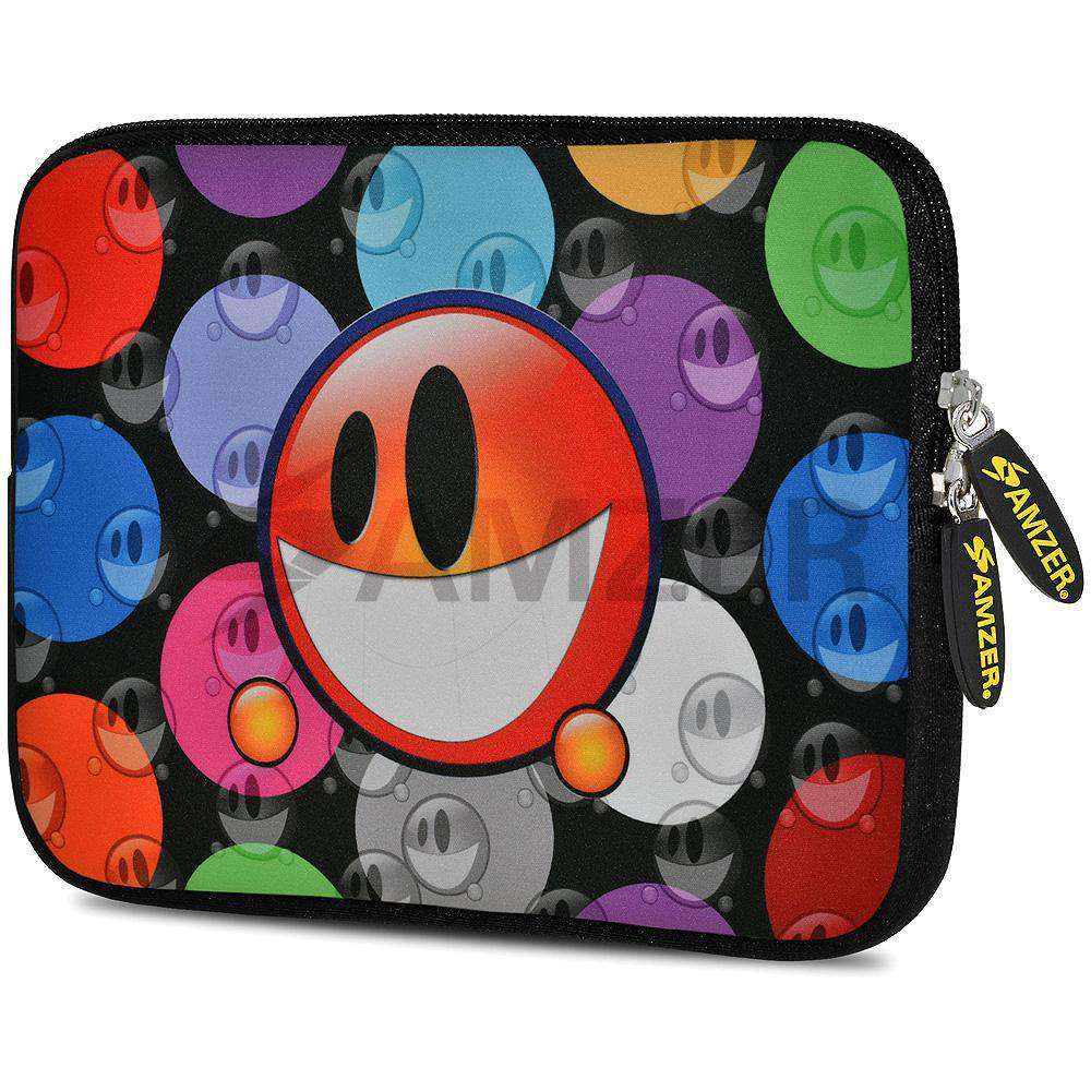 AMZER 7.75 Inch Neoprene Zipper Sleeve Pouch Tablet Bag - Smiley Bubble