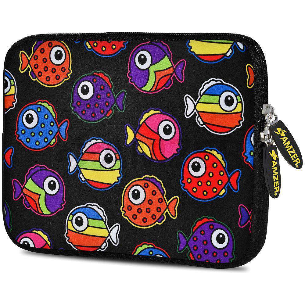 AMZER 7.75 Inch Neoprene Zipper Sleeve Pouch Tablet Bag - Rainbow Fish - amzer