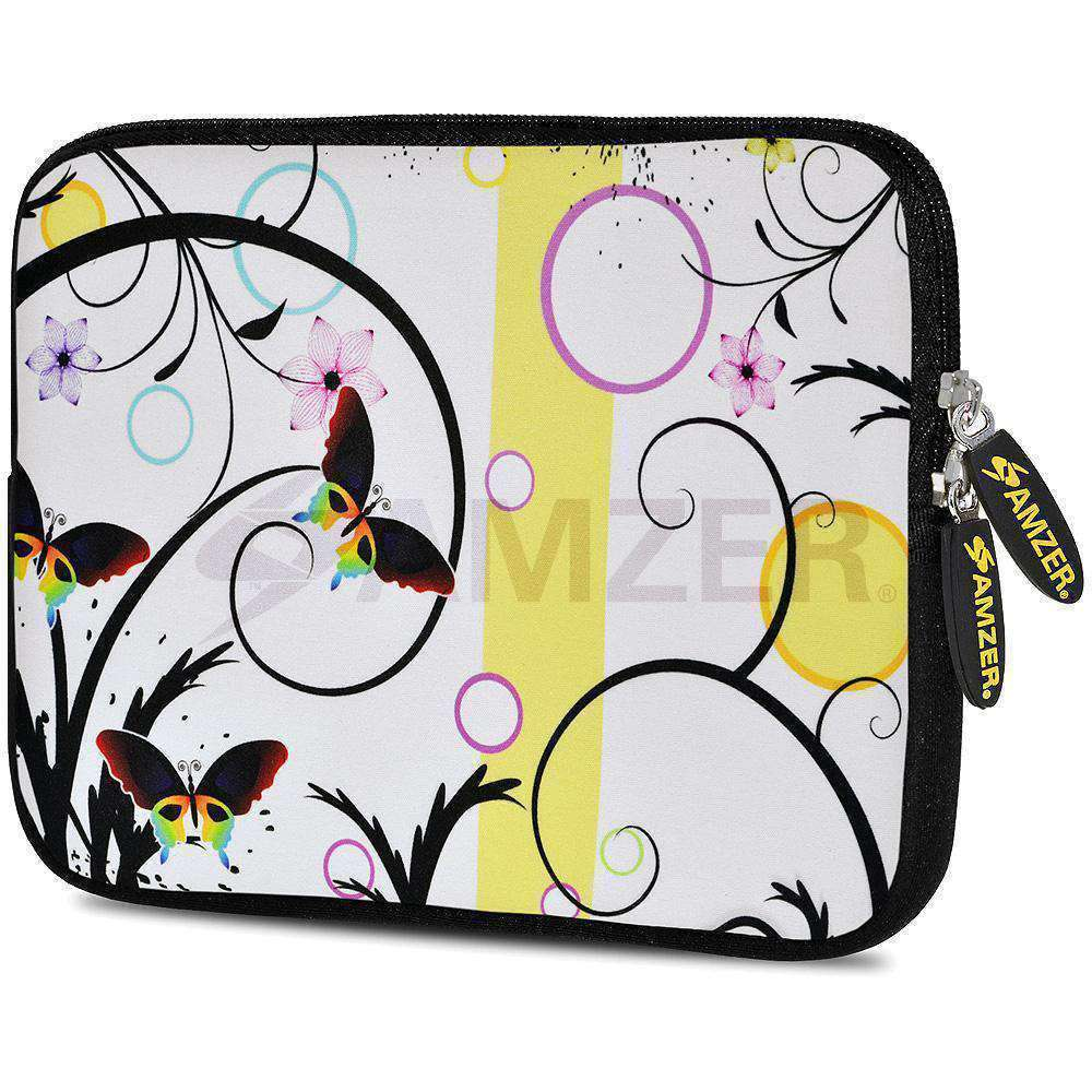 AMZER 10.5 Inch Neoprene Zipper Sleeve Pouch Tablet Bag - Butterfly Bay - amzer