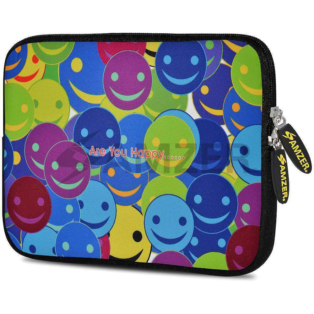 AMZER 10.5 Inch Neoprene Zipper Sleeve Pouch Tablet Bag - Smiley Heads