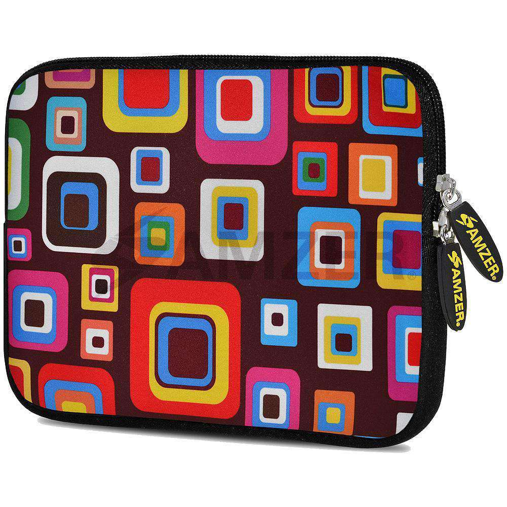 AMZER 7.75 Inch Neoprene Zipper Sleeve Pouch Tablet Bag - Retro Squares