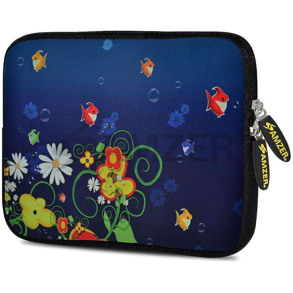 AMZER 7.75 Inch Neoprene Zipper Sleeve Pouch Tablet Bag - Blue Spring Fish