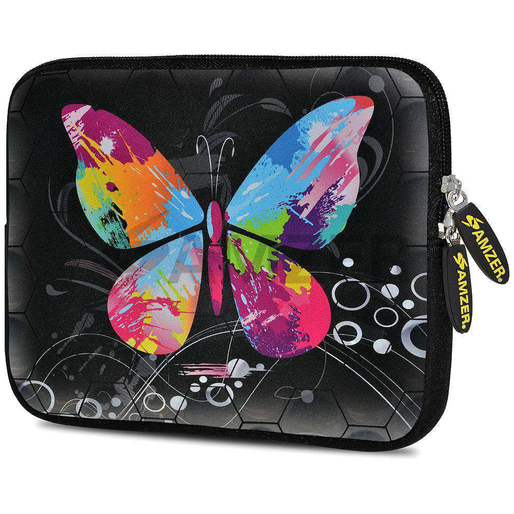 AMZER 7.75 Inch Neoprene Zipper Sleeve Pouch Tablet Bag - Eastman Butterfly