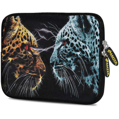 AMZER 7.75 Inch Neoprene Zipper Sleeve Pouch Tablet Bag - Leopard Face Off