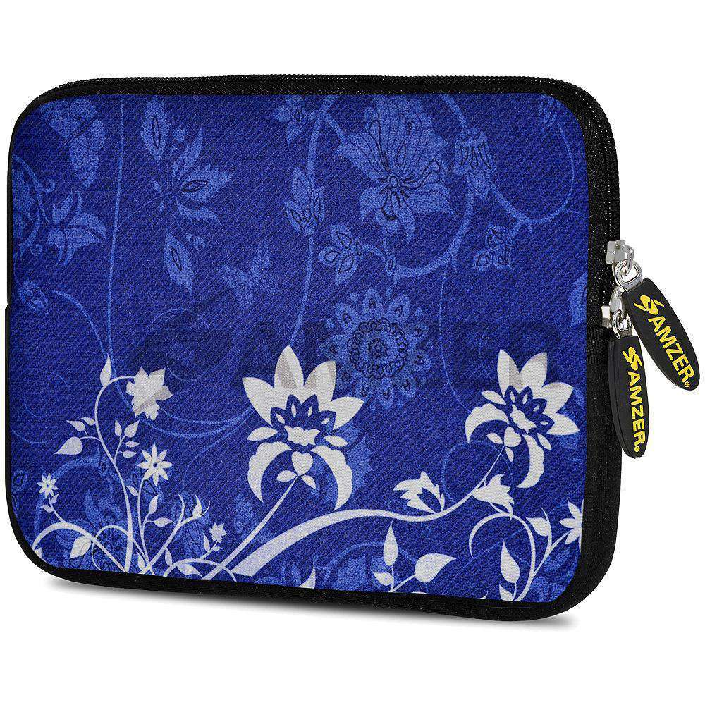 AMZER 7.75 Inch Neoprene Zipper Sleeve Pouch Tablet Bag - White Lotus