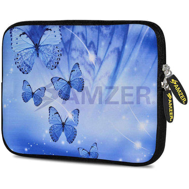 AMZER 7.75 Inch Neoprene Zipper Sleeve Tablet Pouch - Blue Sparkling Butterfly