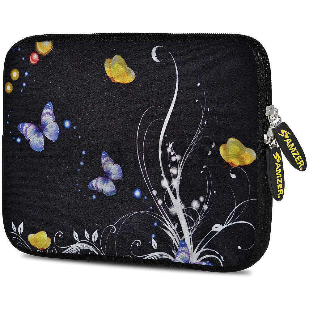 AMZER 7.75 Inch Neoprene Zipper Sleeve Pouch Tablet Bag - Yellow Night Butterfly
