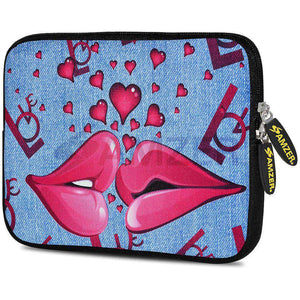 AMZER 7.75 Inch Neoprene Zipper Sleeve Pouch Tablet Bag - Love Lips - amzer