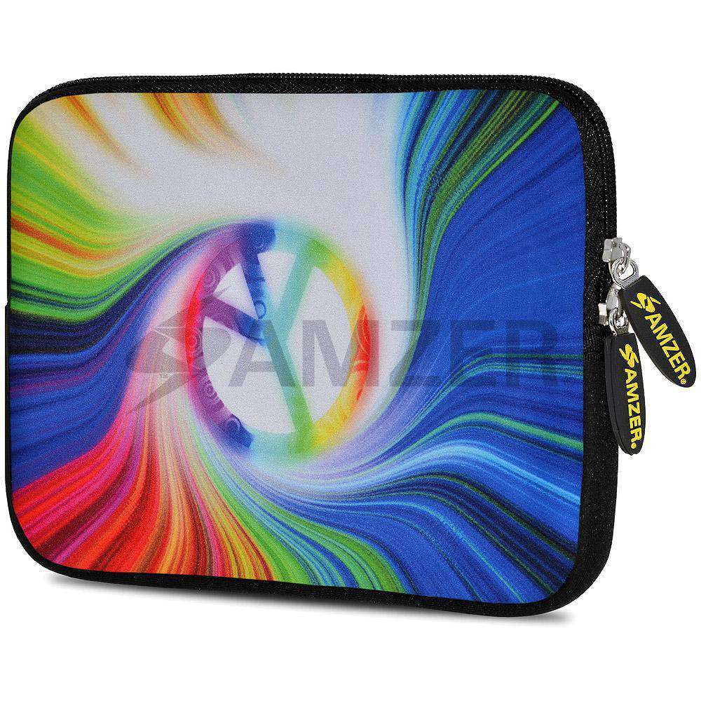AMZER 7.75 Inch Neoprene Zipper Sleeve Pouch Tablet Bag -Rainbow Peace
