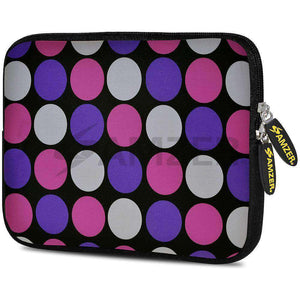 AMZER 7.75 Inch Neoprene Zipper Sleeve Pouch Tablet Bag - Purple Pink Dots - amzer