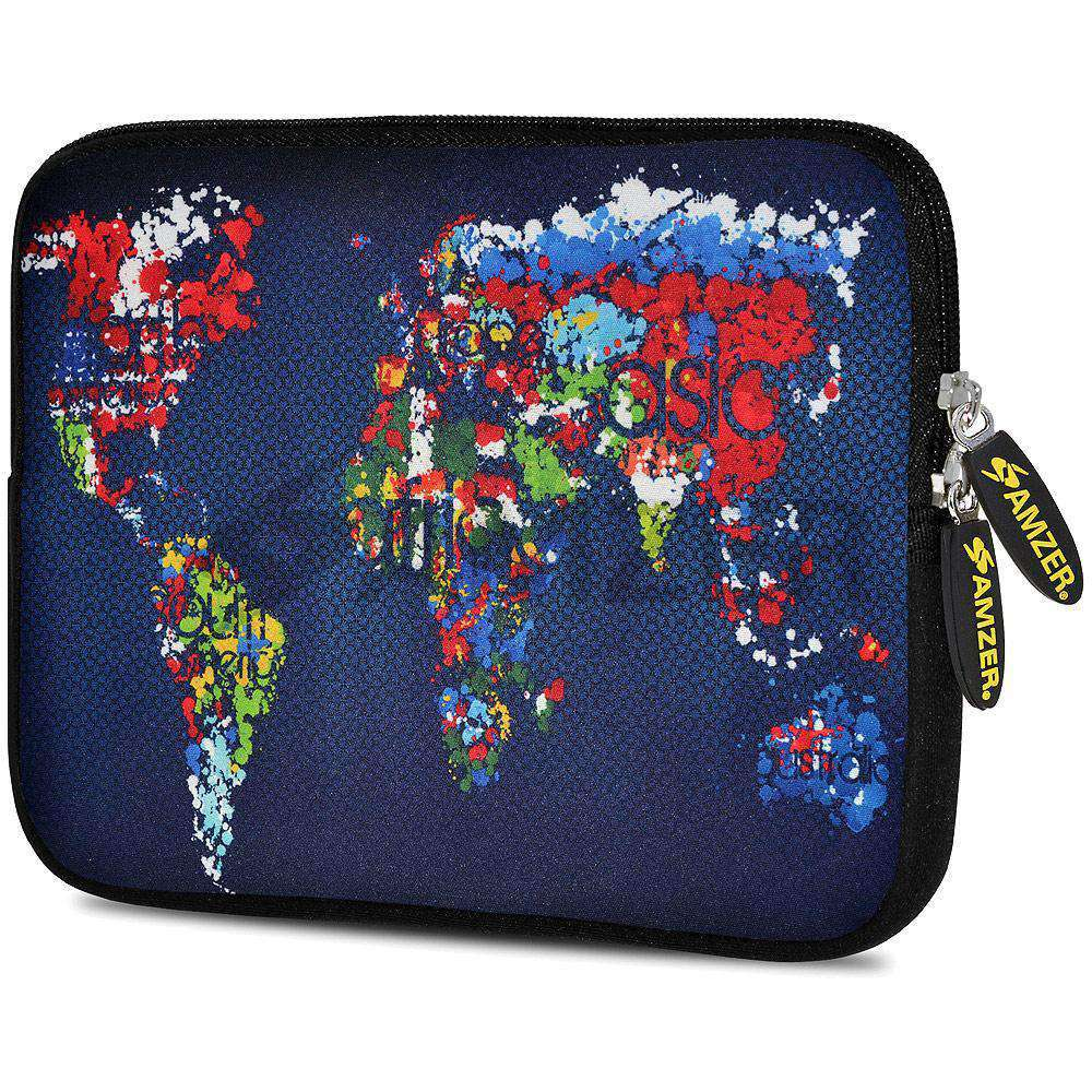 AMZER 7.75 Inch Neoprene Zipper Sleeve Pouch Tablet Bag - Worldwide Map