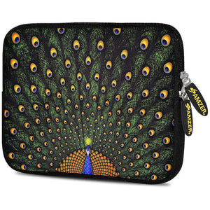 AMZER 7.75 Inch Neoprene Zipper Sleeve Pouch Tablet Bag - Dancing Peacock
