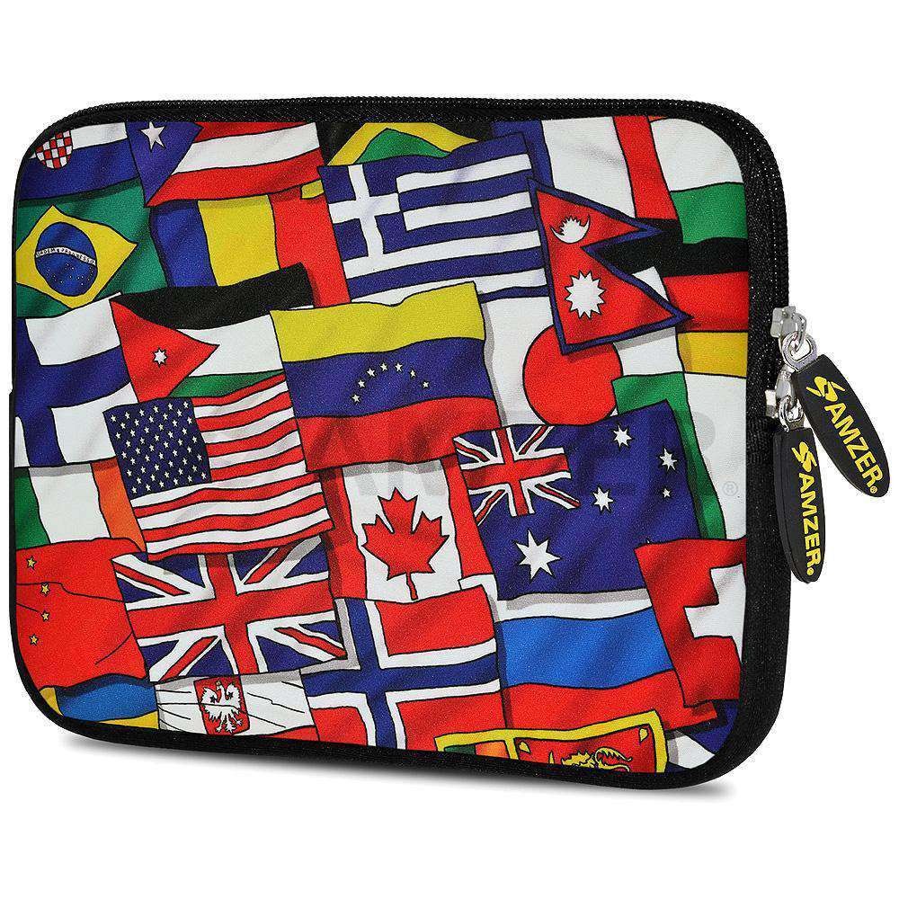 AMZER 7.75 Inch Neoprene Zipper Sleeve Pouch Tablet Bag - Flags United