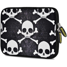 Load image into Gallery viewer, AMZER 7.75 Inch Neoprene Zipper Sleeve Pouch Tablet Bag -  Skull Cross Bones - amzer