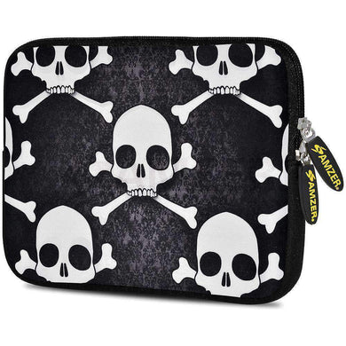 AMZER 7.75 Inch Neoprene Zipper Sleeve Pouch Tablet Bag -  Skull Cross Bones
