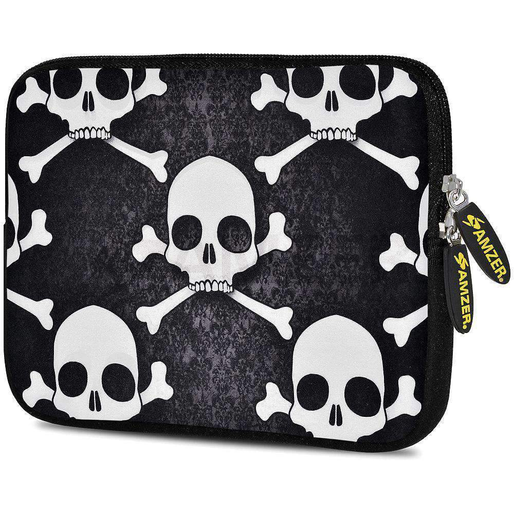 AMZER 7.75 Inch Neoprene Zipper Sleeve Pouch Tablet Bag -  Skull Cross Bones - amzer