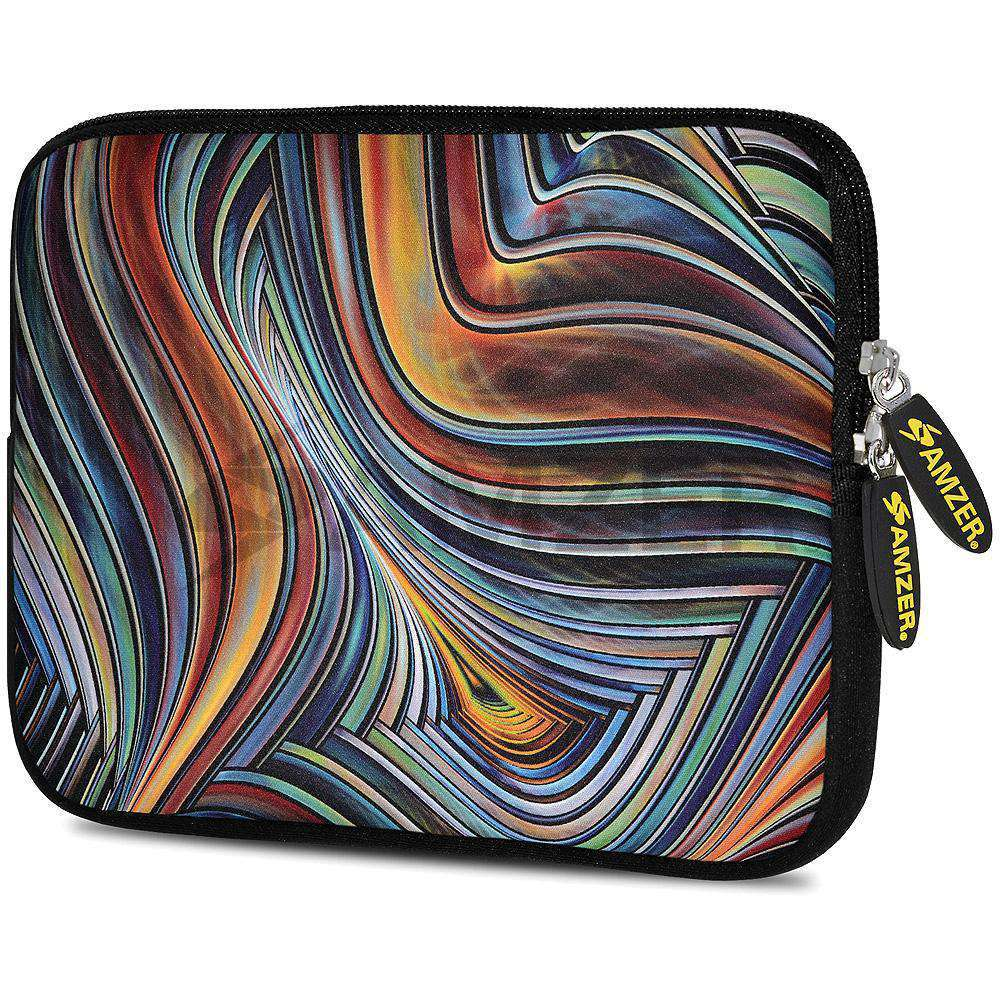 AMZER 7.75 Inch Neoprene Zipper Sleeve Pouch Tablet Bag - Vortex Lines