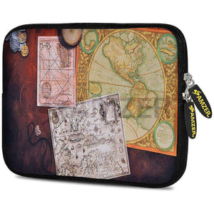 AMZER 7.75 Inch Neoprene Zipper Sleeve Pouch Tablet Bag - Antique map - amzer