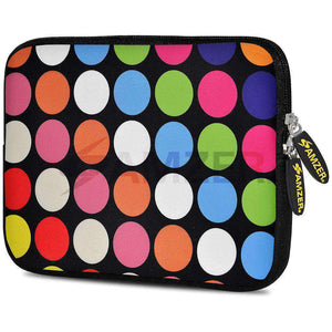 AMZER 7.75 Inch Neoprene Zipper Sleeve Pouch Tablet Bag - Dots Galore