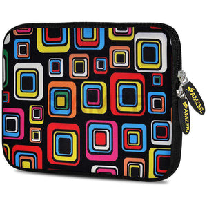 AMZER 7.75 Inch Neoprene Zipper Sleeve Pouch Tablet Bag - Retro Dot Boxes
