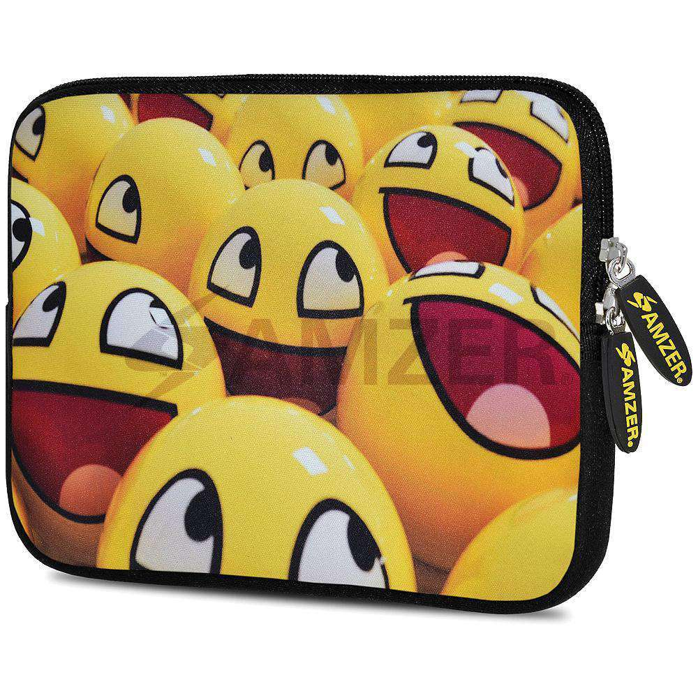 AMZER 7.75 Inch Neoprene Zipper Sleeve Pouch Tablet Bag - Smiley Lot - amzer