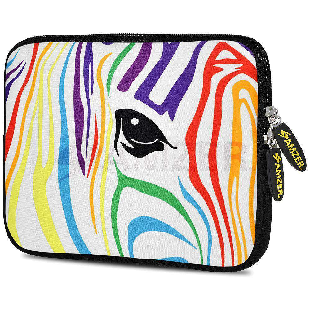 AMZER 7.75 Inch Neoprene Zipper Sleeve Pouch Tablet Bag - Zebra Colour Stripes - amzer