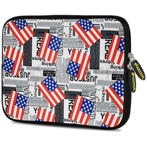 AMZER 7.75 Inch Neoprene Zipper Sleeve Pouch Tablet Bag - USA Flags
