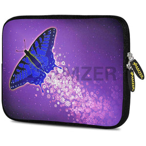 AMZER 7.75 Inch Neoprene Zipper Sleeve Pouch Tablet Bag - Purple Blue Butterfly - amzer