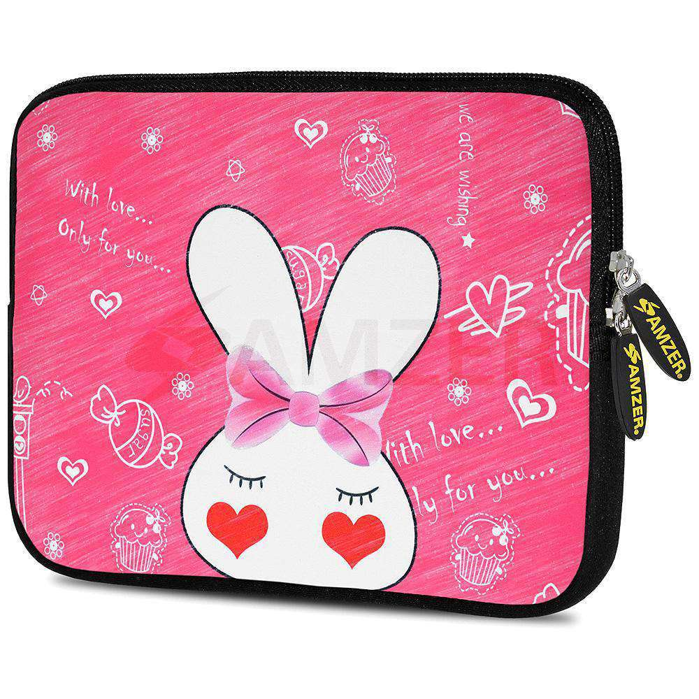 AMZER 7.75 Inch Neoprene Zipper Sleeve Pouch Tablet Bag - Cute Bunny Ears