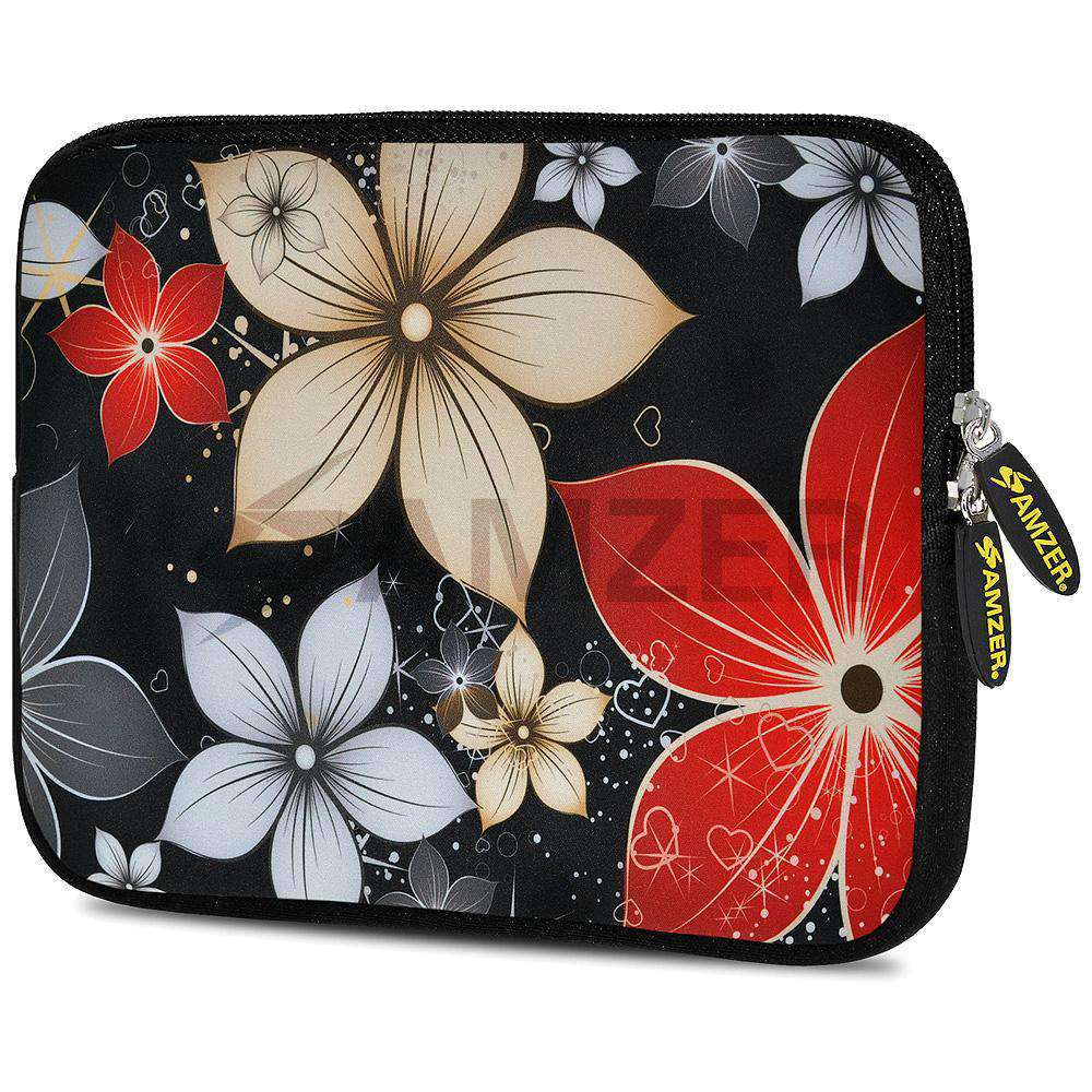 AMZER 7.75 Inch Neoprene Zipper Sleeve Tablet Pouch - Wildflowers Red & White - amzer