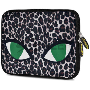 AMZER 7.75 Inch Neoprene Zipper Sleeve Pouch Tablet Bag - Green Cat Eyes