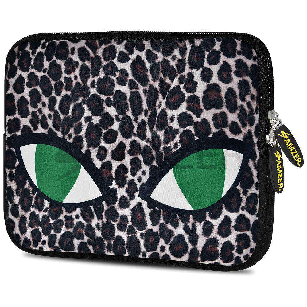 AMZER 7.75 Inch Neoprene Zipper Sleeve Pouch Tablet Bag - Green Cat Eyes - amzer