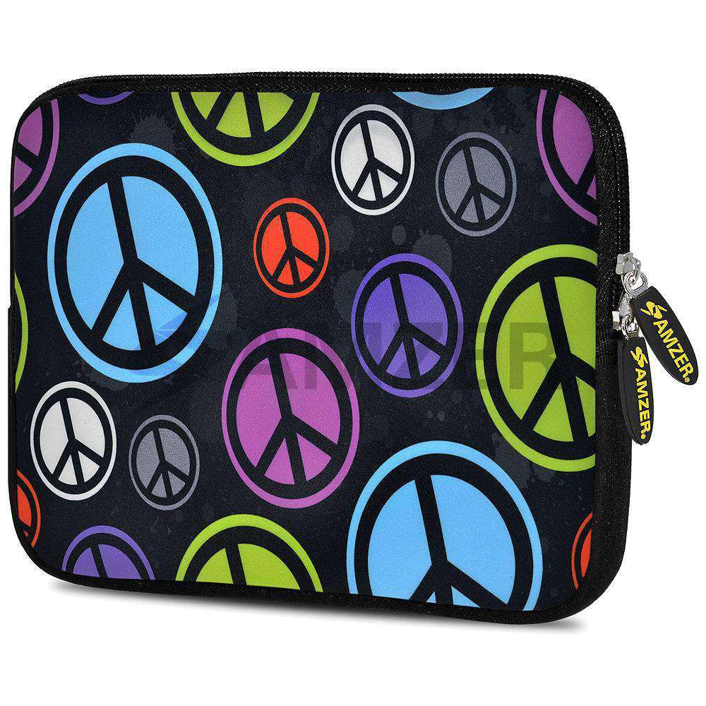 AMZER 7.75 Inch Neoprene Zipper Sleeve Pouch Tablet Bag - Neon Peace Force - amzer