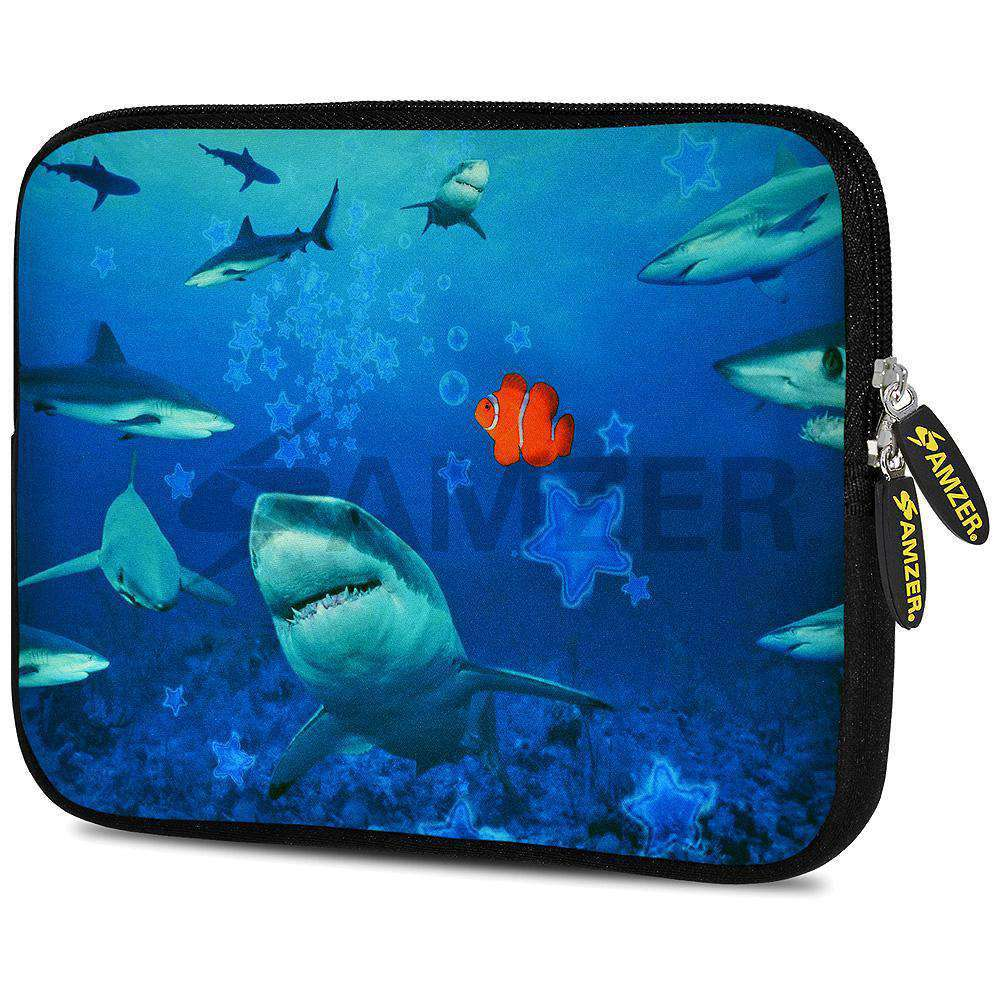 AMZER 7.75 Inch Neoprene Zipper Sleeve Pouch Tablet Bag - Sharks Around