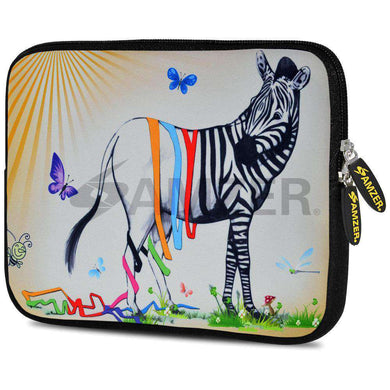 AMZER 7.75 Inch Neoprene Zipper Sleeve Pouch Tablet Bag - Zebra Stripe Falls