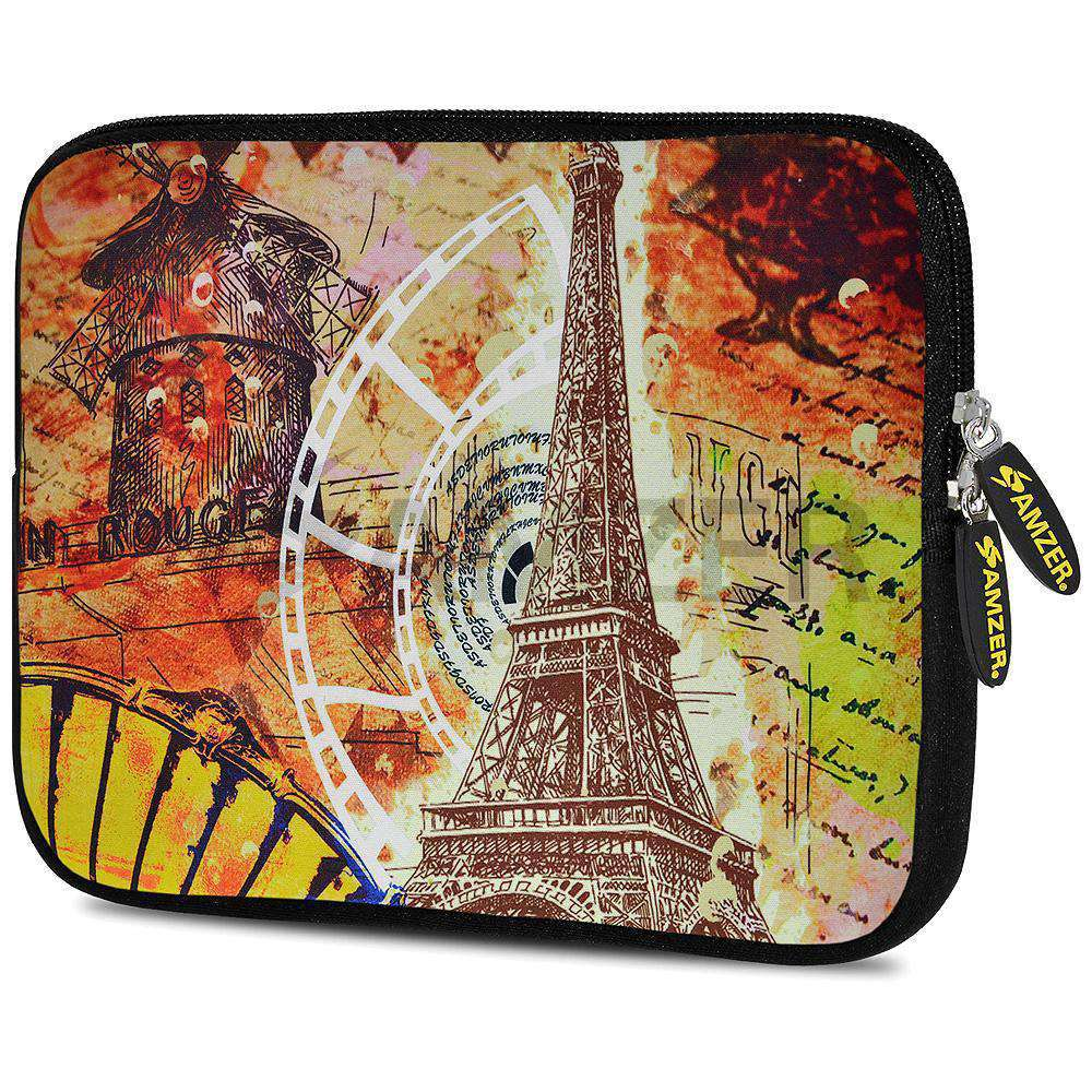 AMZER 7.75 Inch Neoprene Zipper Sleeve Pouch Tablet Bag - Eiffel Tower Paris - amzer