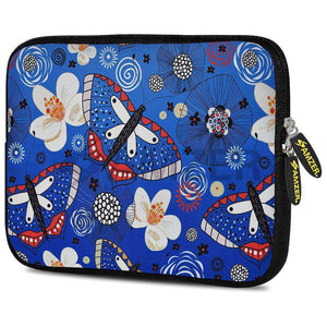 AMZER 7.75 Inch Neoprene Zipper Sleeve Pouch Tablet Bag - Blue Bloom Dragonfly