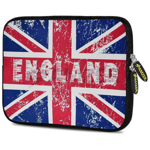 AMZER 10.5 Inch Neoprene Zipper Sleeve Pouch Tablet Bag - England Flag Cross
