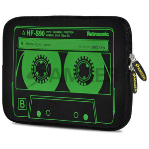 AMZER 7.75 Inch Neoprene Zipper Sleeve Pouch Tablet Bag - Green Neon Cassette - amzer