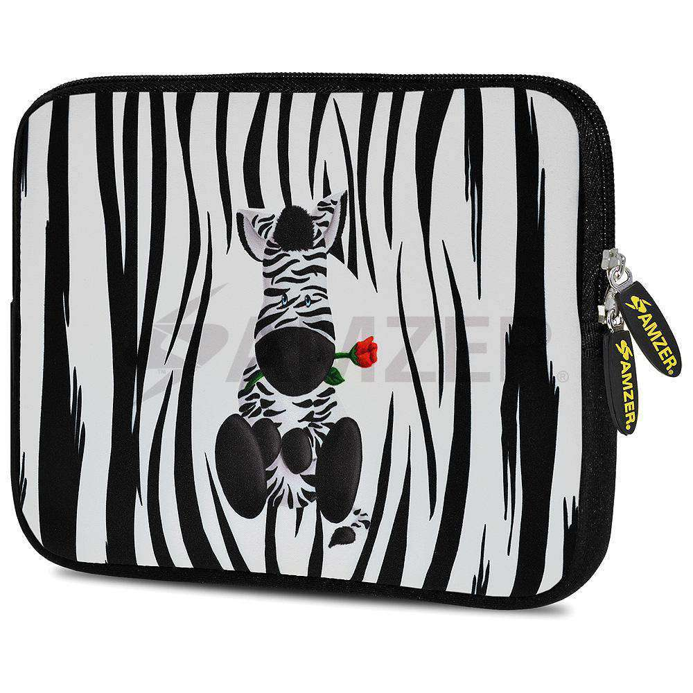 AMZER 10.5 Inch Neoprene Zipper Sleeve Pouch Tablet Bag - Cute Zebra Rose - amzer