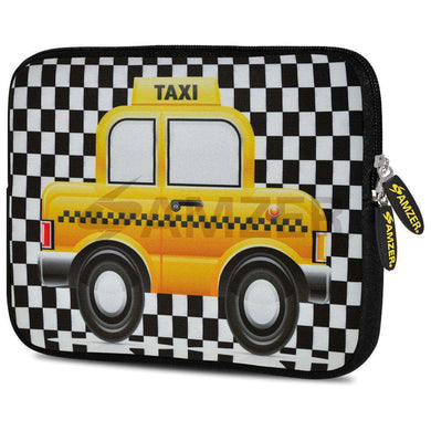 AMZER 7.75 Inch Neoprene Zipper Sleeve Pouch Tablet Bag - Yellow Taxi Checks - amzer